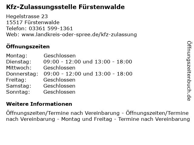 Kfz-Zulassungsstelle Fürstenwalde in Fürstenwalde: Adresse und Öffnungszeiten