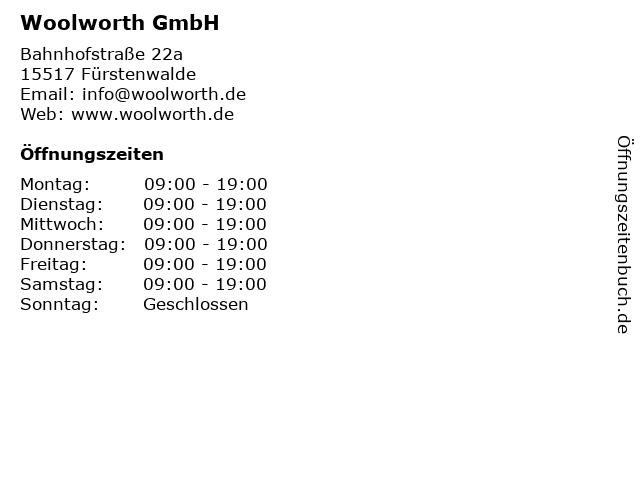 Woolworth GmbH in Fürstenwalde: Adresse und Öffnungszeiten