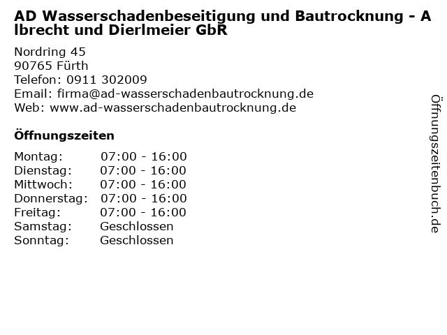 AD Wasserschadenbeseitigung und Bautrocknung - Albrecht und Dierlmeier GbR in Fürth: Adresse und Öffnungszeiten
