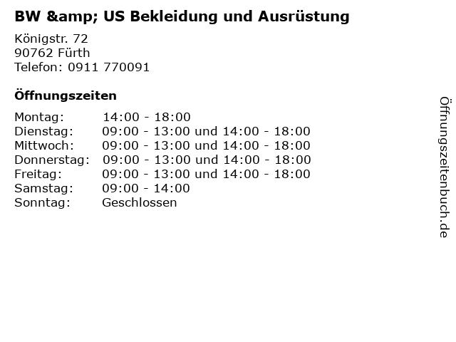BW & US Bekleidung und Ausrüstung in Fürth: Adresse und Öffnungszeiten