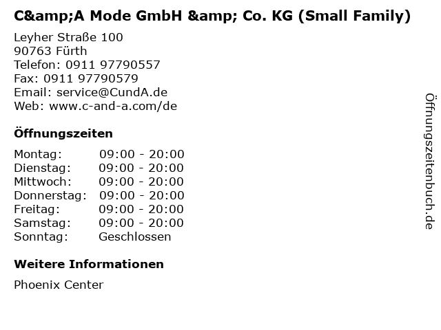 C&A Mode GmbH & Co. KG (Small Family) in Fürth: Adresse und Öffnungszeiten