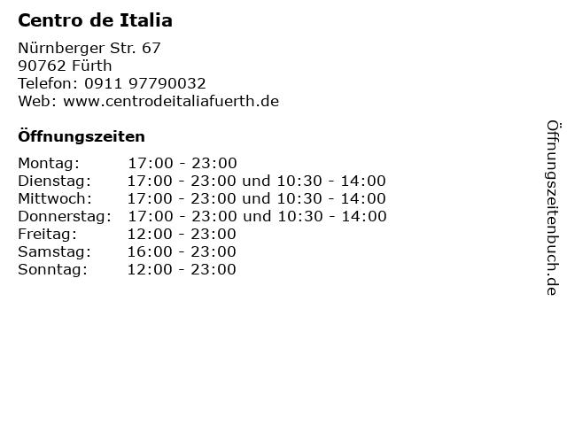 Centro de Italia in Fürth: Adresse und Öffnungszeiten