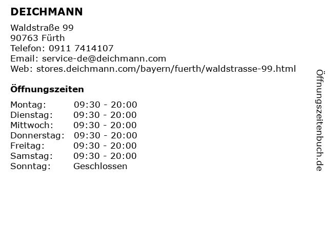 Deichmann Schuhe in Fürth: Adresse und Öffnungszeiten