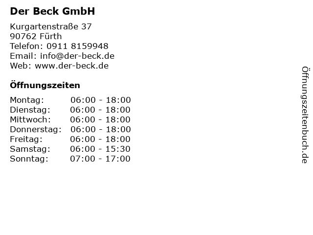 Der Beck GmbH in Fürth: Adresse und Öffnungszeiten