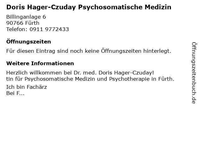Doris Hager Fachärztin f.Psychosomat.Med. und Psychotherapie in Fürth: Adresse und Öffnungszeiten