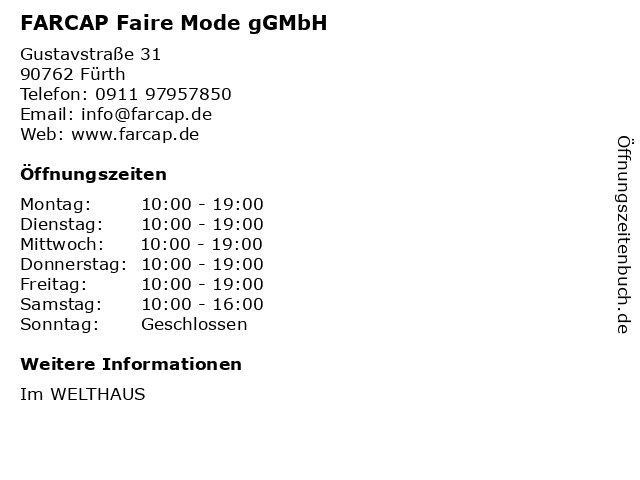 FARCAP Faire Mode gGMbH in Fürth: Adresse und Öffnungszeiten
