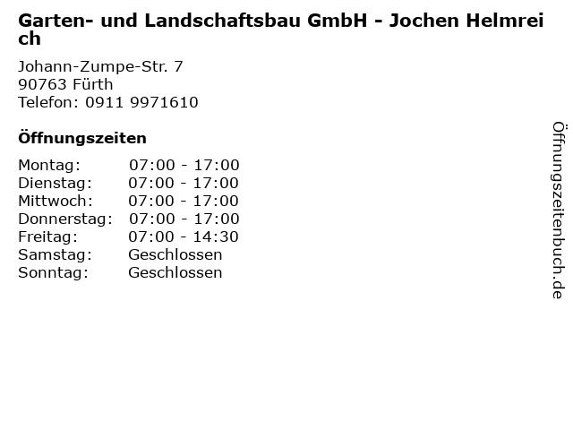 Garten- und Landschaftsbau GmbH - Jochen Helmreich in Fürth: Adresse und Öffnungszeiten