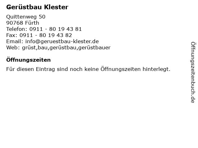 Gerüstbau Klester in Fürth: Adresse und Öffnungszeiten