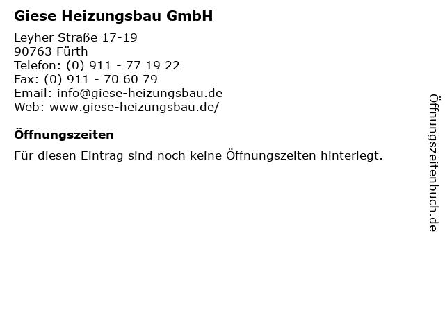 Giese Heizungsbau GmbH in Fürth: Adresse und Öffnungszeiten
