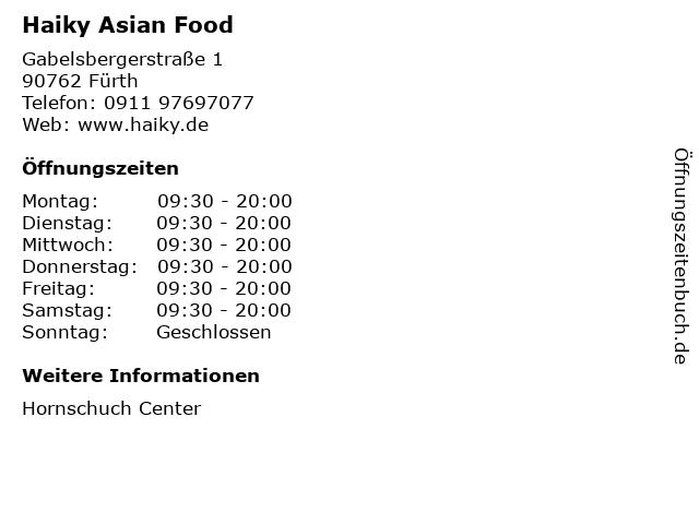 Haiky Asian Food in Fürth: Adresse und Öffnungszeiten