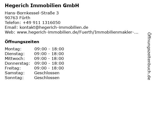 Hegerich Immobilien GmbH in Fürth: Adresse und Öffnungszeiten