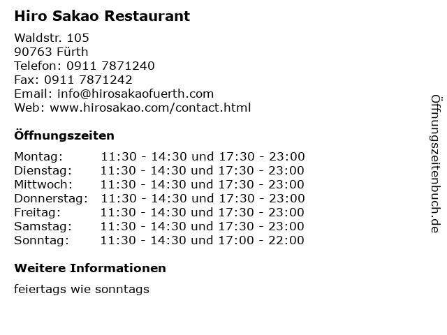 Hiro Sakao in Fürth: Adresse und Öffnungszeiten