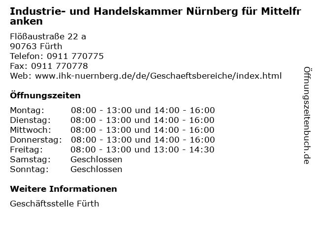 Industrie- und Handelskammer Nürnberg für Mittelfranken in Fürth: Adresse und Öffnungszeiten