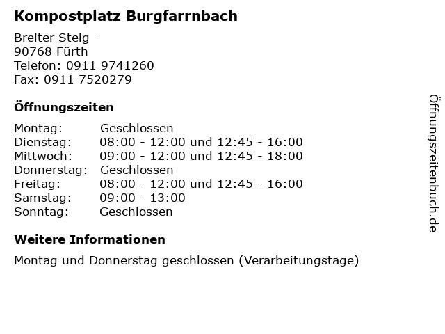kompost burgfarrnbach öffnungszeiten