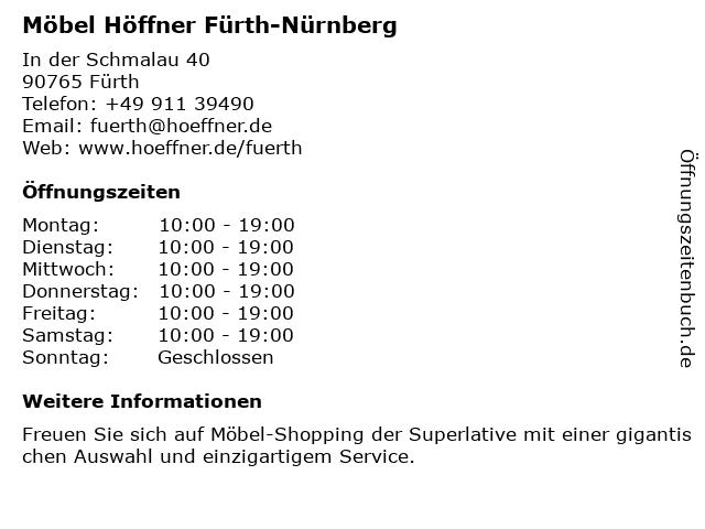 ᐅ öffnungszeiten Möbel Höffner In Der Schmalau 40 In Fürth
