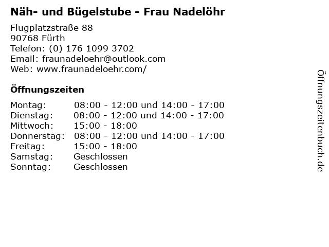 Näh- und Bügelstube - Frau Nadelöhr in Fürth: Adresse und Öffnungszeiten