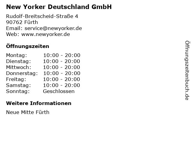 New Yorker Deutschland GmbH in Fürth: Adresse und Öffnungszeiten