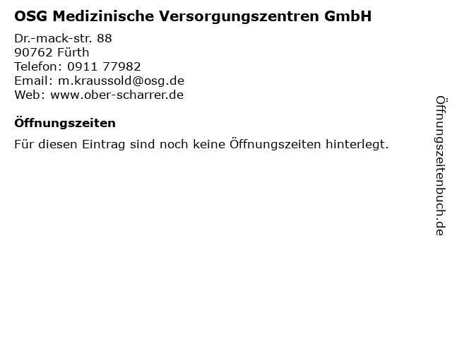 OSG Medizinische Versorgungszentren GmbH in Fürth: Adresse und Öffnungszeiten