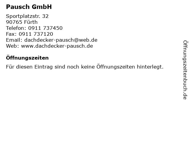 Pausch GmbH in Fürth: Adresse und Öffnungszeiten