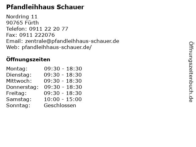Pfandleihhaus Schauer & Co. in Fürth: Adresse und Öffnungszeiten
