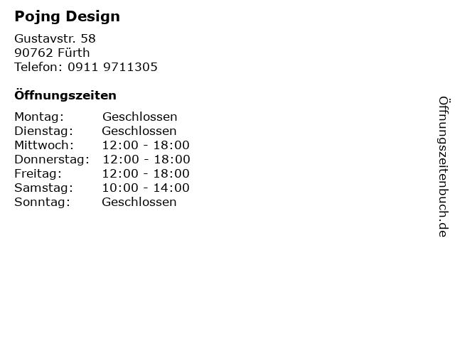 Pojng Design in Fürth: Adresse und Öffnungszeiten