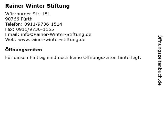 Rainer Winter Stiftung in Fürth: Adresse und Öffnungszeiten