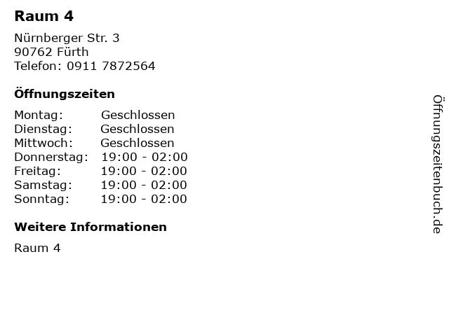 Raum 4 in Fürth: Adresse und Öffnungszeiten