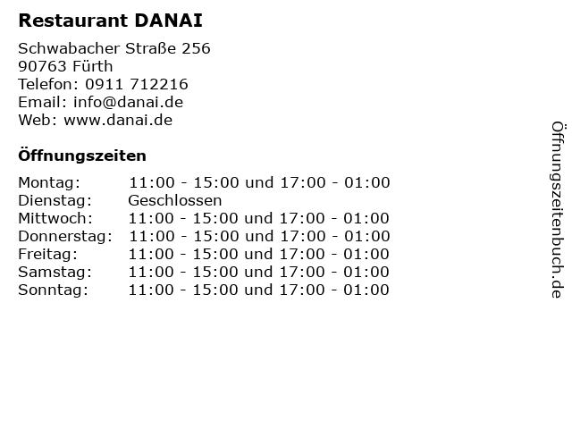 Restaurant DANAI in Fürth: Adresse und Öffnungszeiten