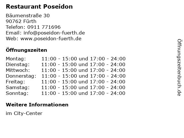 Restaurant Poseidon in Fürth: Adresse und Öffnungszeiten