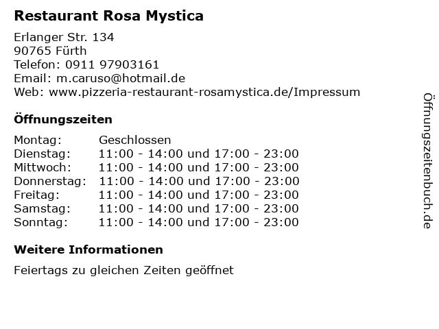 Restaurant Rosa Mystica in Fürth: Adresse und Öffnungszeiten