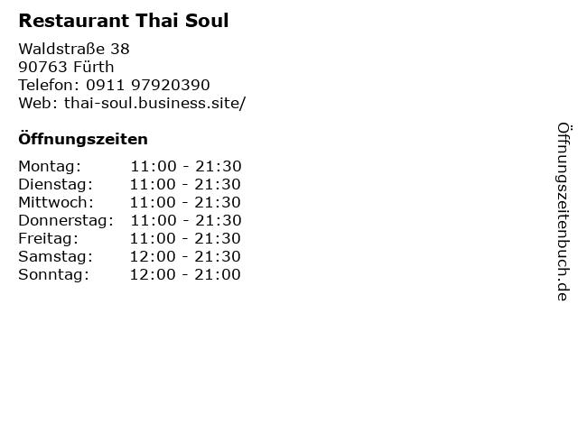 Restaurant Thai Soul in Fürth: Adresse und Öffnungszeiten
