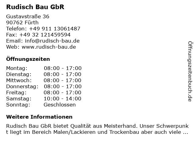Rudisch Bau GbR in Fürth: Adresse und Öffnungszeiten