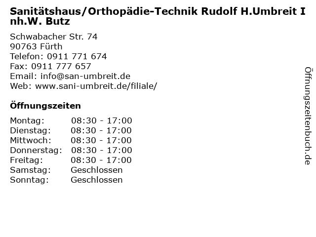 Sanitätshaus/Orthopädie-Technik Rudolf H.Umbreit Inh.W. Butz in Fürth: Adresse und Öffnungszeiten