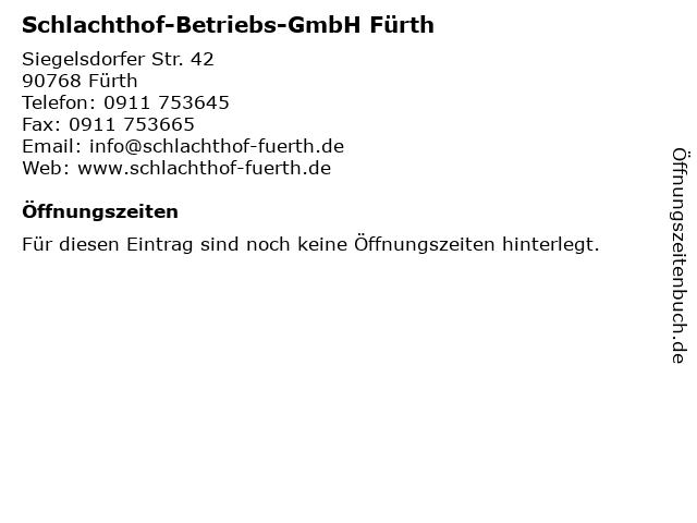 Schlachthof-Betriebs-GmbH Fürth in Fürth: Adresse und Öffnungszeiten