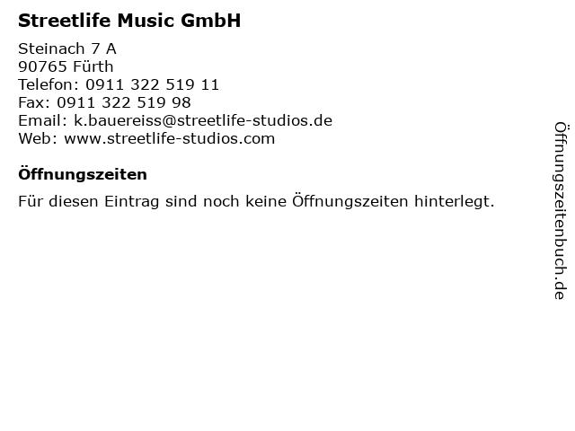 Streetlife Music GmbH in Fürth: Adresse und Öffnungszeiten