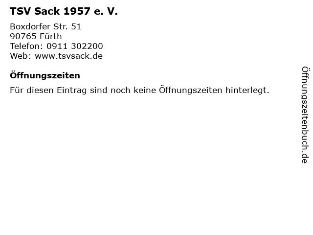 TSV Sack 1957 e. V. in Fürth: Adresse und Öffnungszeiten
