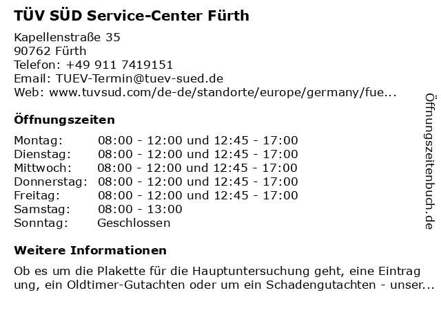 ᐅ Offnungszeiten Tuv Sud Service Center Furth Kapellenstrasse 35
