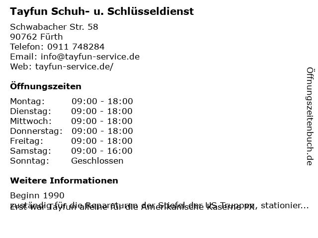 Tayfun Schuhe und Schlüsseldienst in Fürth: Adresse und Öffnungszeiten