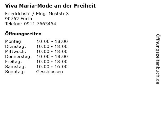 Viva Maria-Mode an der Freiheit in Fürth: Adresse und Öffnungszeiten