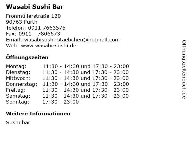 Wasabi Sushi Bar in Fürth: Adresse und Öffnungszeiten