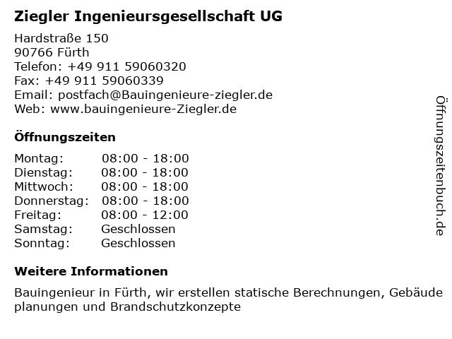 Ziegler Ingenieursgesellschaft UG in Fürth: Adresse und Öffnungszeiten