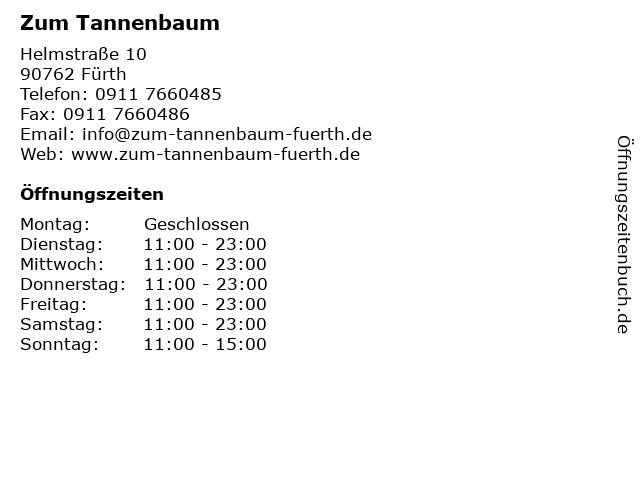 Gaststätte Tannenbaum.ᐅ öffnungszeiten Zum Tannenbaum Helmstraße 10 In Fürth