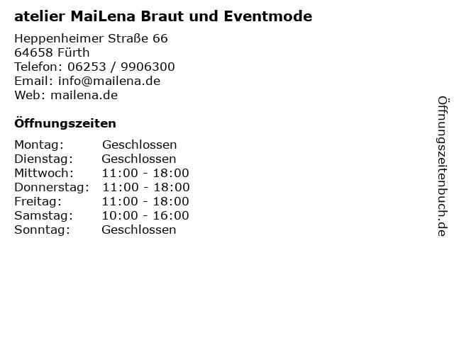 atelier MaiLena Braut und Eventmode in Fürth: Adresse und Öffnungszeiten