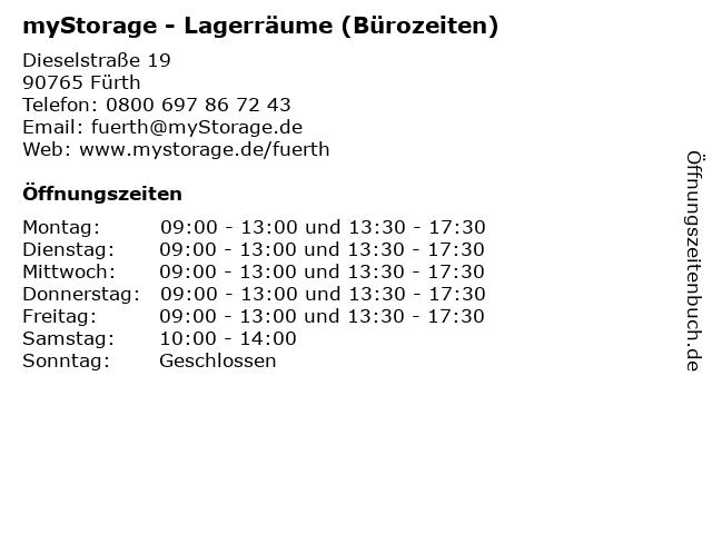 myStorage - Lagerräume (Bürozeiten) in Fürth: Adresse und Öffnungszeiten