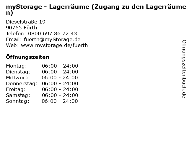 myStorage - Lagerräume (Zugang zu den Lagerräumen) in Fürth: Adresse und Öffnungszeiten