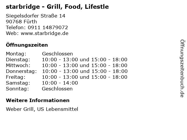 starbridge - Grill, Food, Lifestle in Fürth: Adresse und Öffnungszeiten