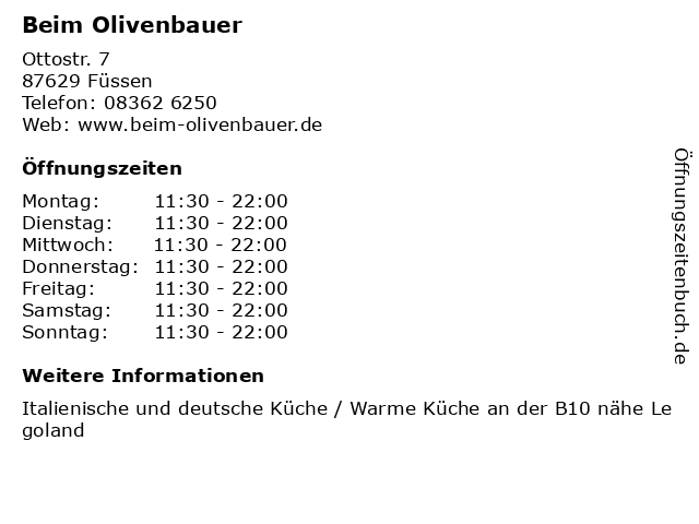 Beim Olivenbauer in Füssen: Adresse und Öffnungszeiten