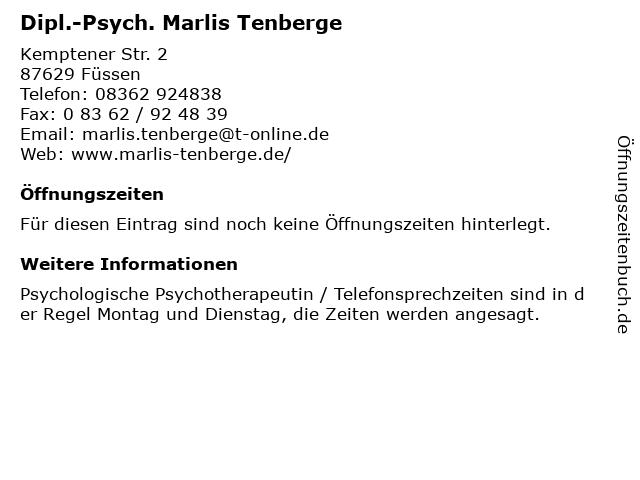 Dipl.-Psych. Marlis Tenberge in Füssen: Adresse und Öffnungszeiten