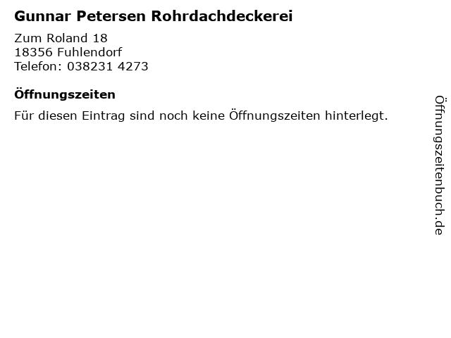 Gunnar Petersen Rohrdachdeckerei in Fuhlendorf: Adresse und Öffnungszeiten