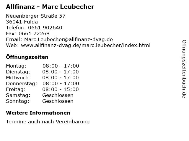 Allfinanz - Marc Leubecher in Fulda: Adresse und Öffnungszeiten